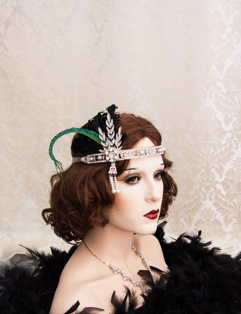 Silver Flapper Headband with Black Feathers Great Gatsby image 0