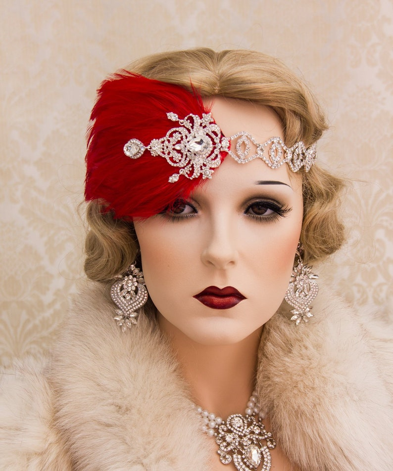 1920s Roaring Flapper Headbands Great Gatsby Headpiece Vintage image 0