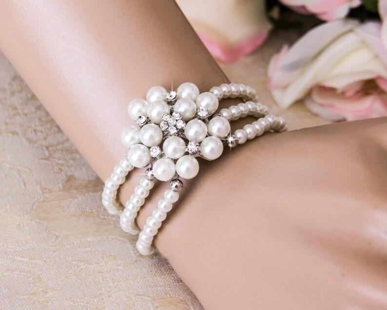 Pearl Wedding Bracelet Crystal Bridal bracelet Wedding image 0