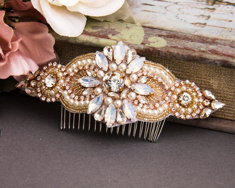 Rose Gold Wedding Hair Comb Pearl Hair Jewelry for Wedding image 0