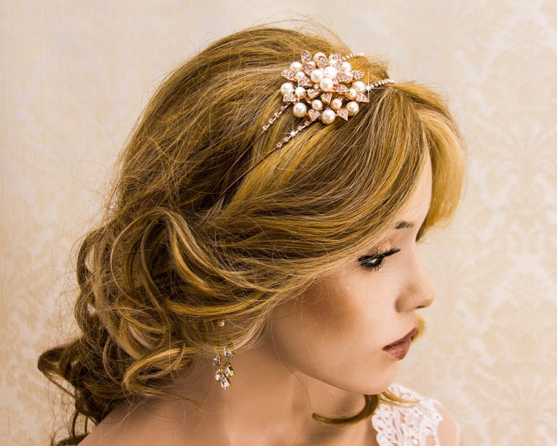 Rose Gold Wedding Headband Great Gatsby Headband 1920's image 0