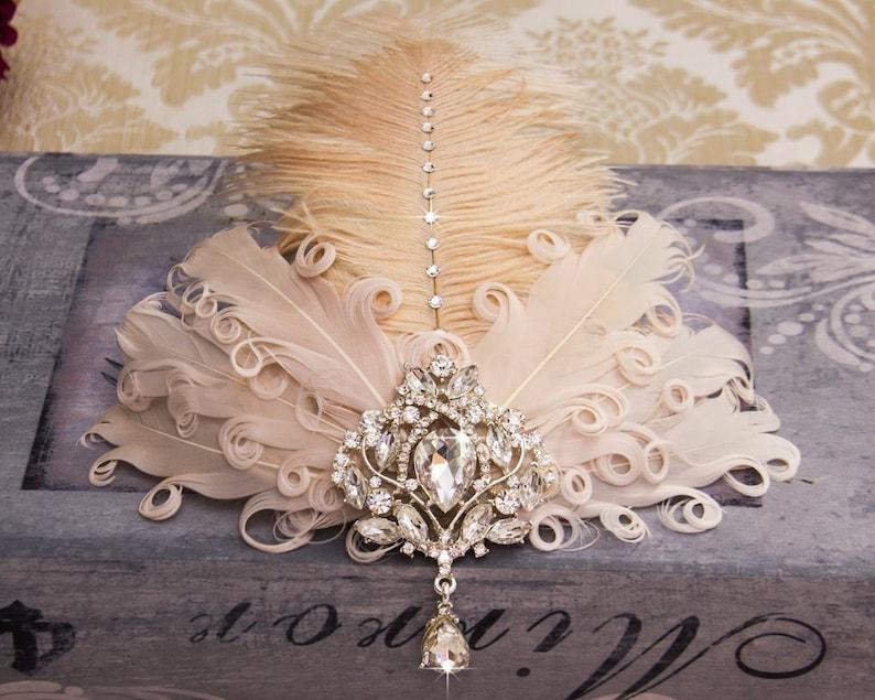 Retro 1920s Headpiece Feather Fascinator Great Gatsby image 0