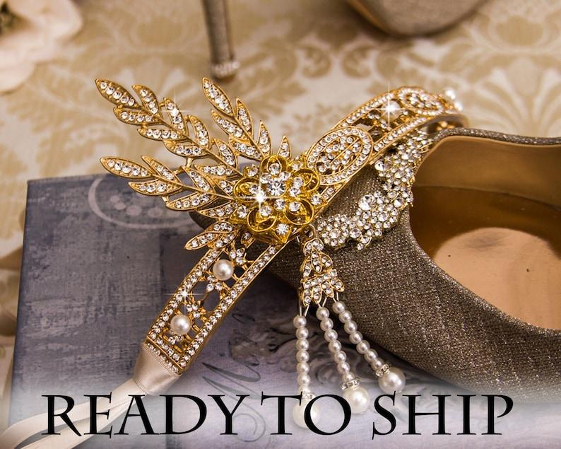Gold Flapper Headband Great Gatsby Headband Wedding Hairpiece image 0