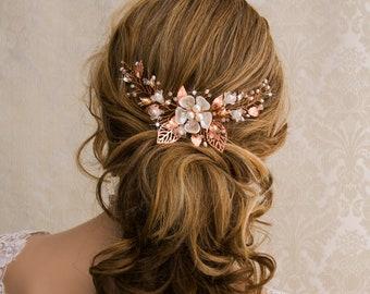 Rose Gold Wedding Hair Vine Bridal Hair Vine Headpiece Wedding Hair Comb Bridal Hair Comb Rose Gold Bridal Hair Comb