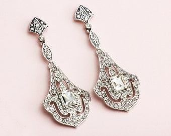 SIlver Bridal Earrings, Great Gatsby Earrings, Art Deco Earrings, 1920s Jewelry, Roaring 20s wedding jewlery