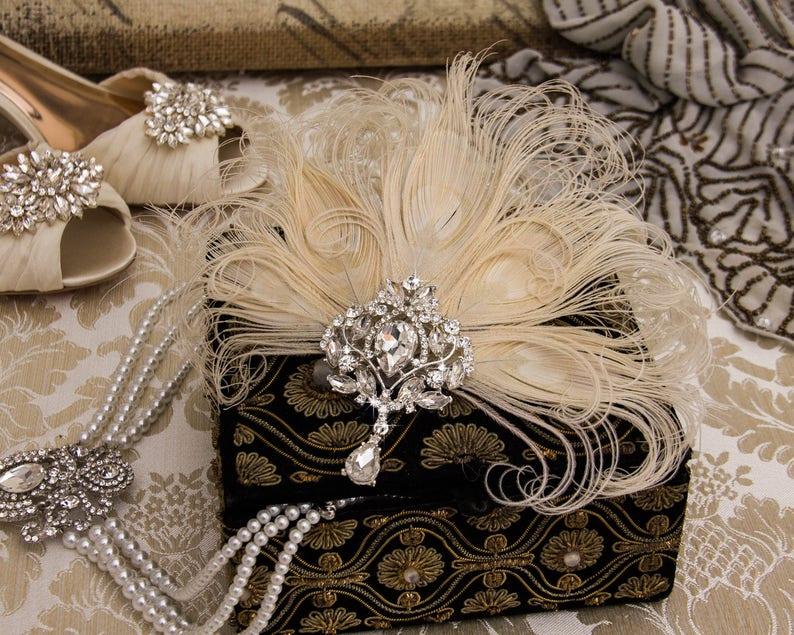 Great Gatsby Headband Feather Flapper Headpiece Great Gatsby image 0