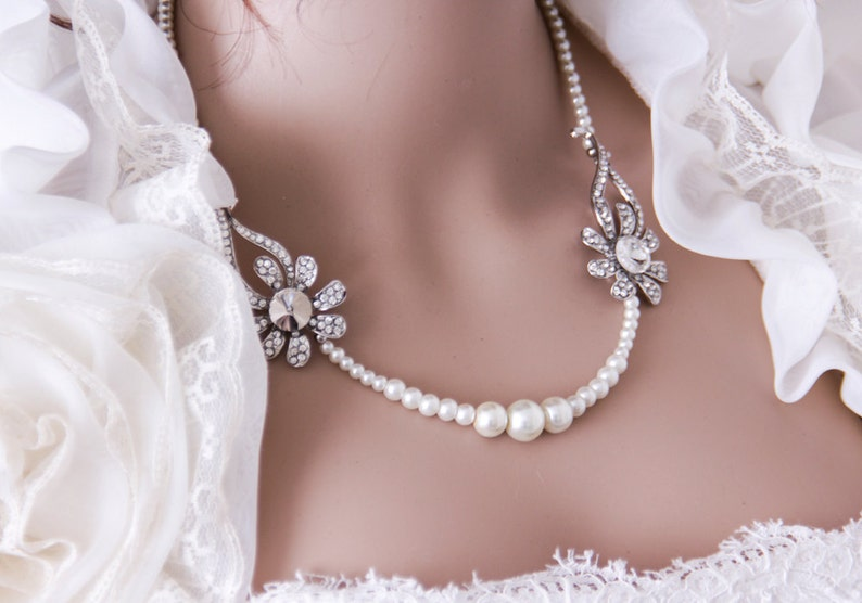 Bridal Jewelry Necklace Multistrand Pearl Necklace Pearl image 0
