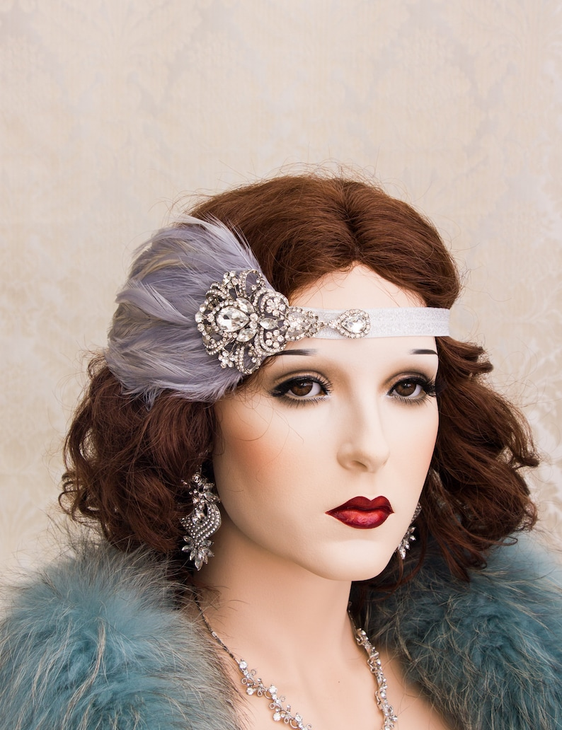 Elegant Feather Great Gatsby Headpiece 1920s Roaring Flapper ETASTIC, HORIZONTAL