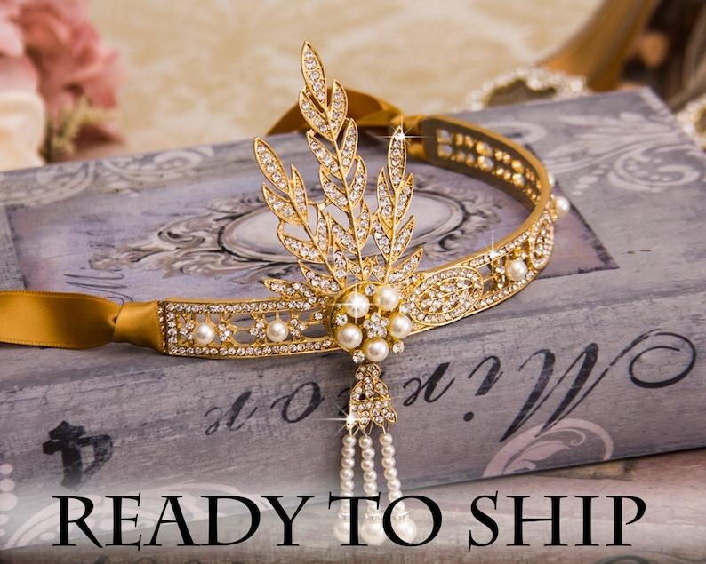 Gold Flapper Headband Great Gatsby Headband Daisy Buchanan image 0
