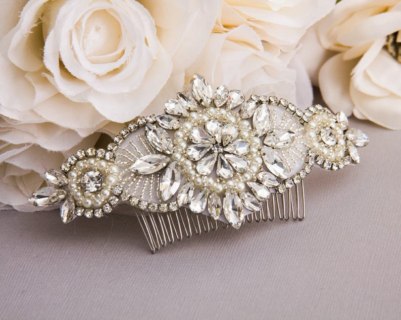 Wedding Hair Comb Silver Rhinestone Hair Comb Wedding Jewelry image 0