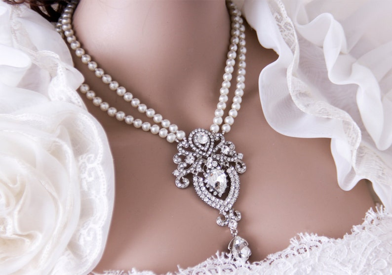 Pearl Bridal Necklace Multistrand Pearl Necklace Pearl image 0