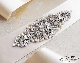 Ivory Bridal Sash, Wedding Sash Belt, Rhinestone Sash, Rhinestone Bridal Sash, Bridal Sash Belt