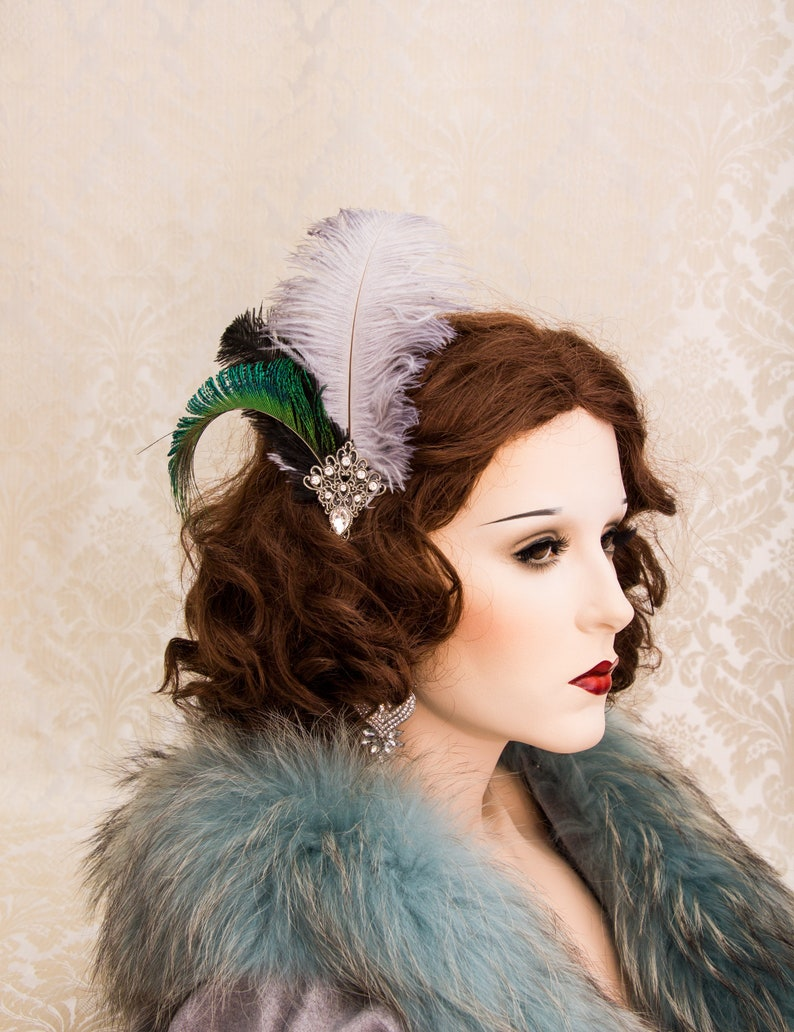 Art Deco Feather Hairpiece Peacock Feather Fascinator image 0