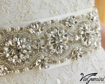 "Rhinestone wedding sash 11"", wedding sash,  bridal sash, pearl wedding sash, vintage wedding sash, bling bridal sash"