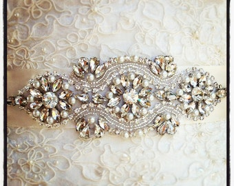 Crystal Wedding Sash, Wedding Sash, Bridal Belt, Bridal Sash, Crystal Sash, Crystal Belt, Beaded Sash, Rhinestone Sash, Sash