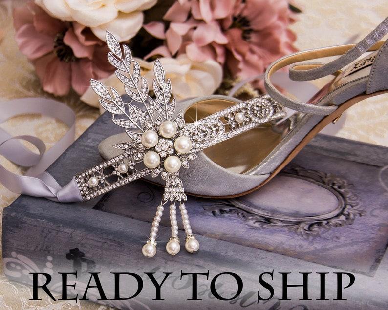 Retro 1920s Headpiece Wedding Bridal Headband Great Gatsby Art image 0