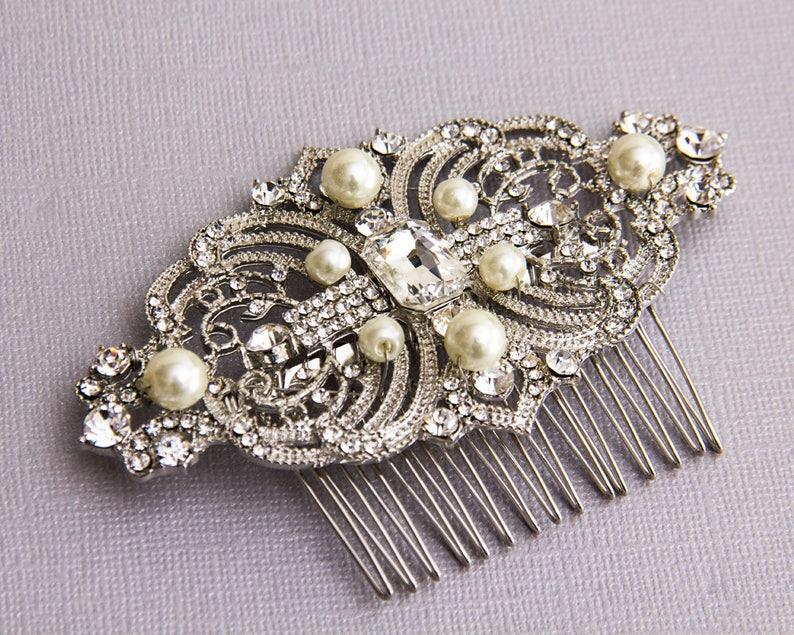Bridal Hair Comb Silver Wedding Hair Comb Bridal Hair Piece image 0