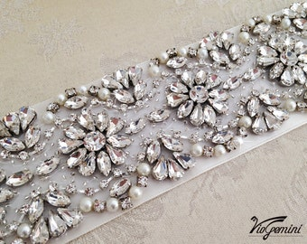 "Pearl Wedding Sash 17"" - Wedding Sash - Dress Sash - Wedding Sash Belt"