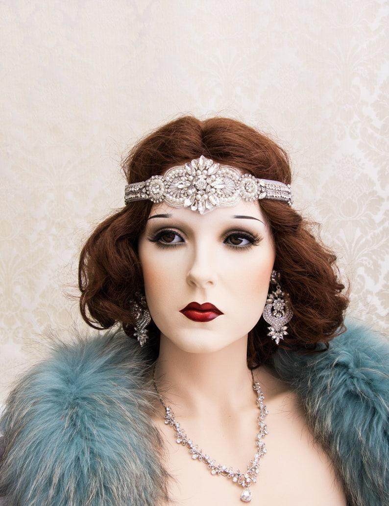 Silver Great Gatsby Headband Art Deco Headband Art Deco Hair image 0