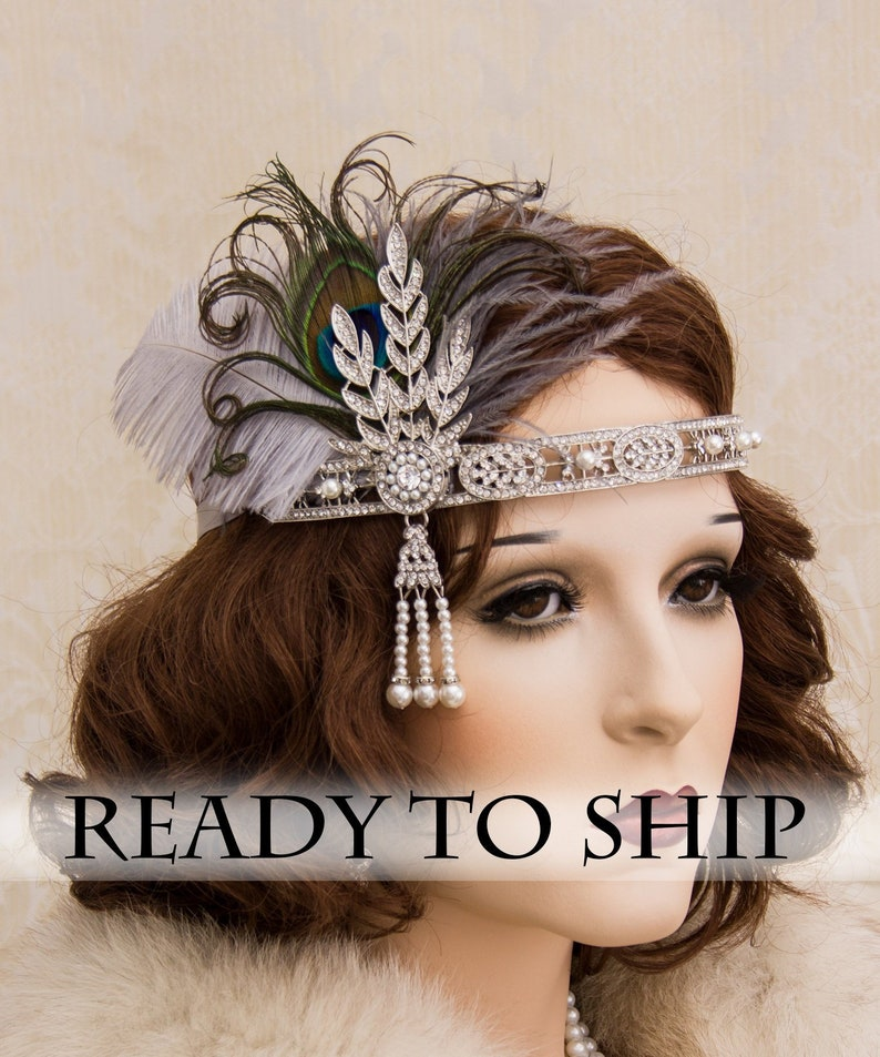 Silver Flapper Headband with Peacock Feathers Great Gatsby image 0