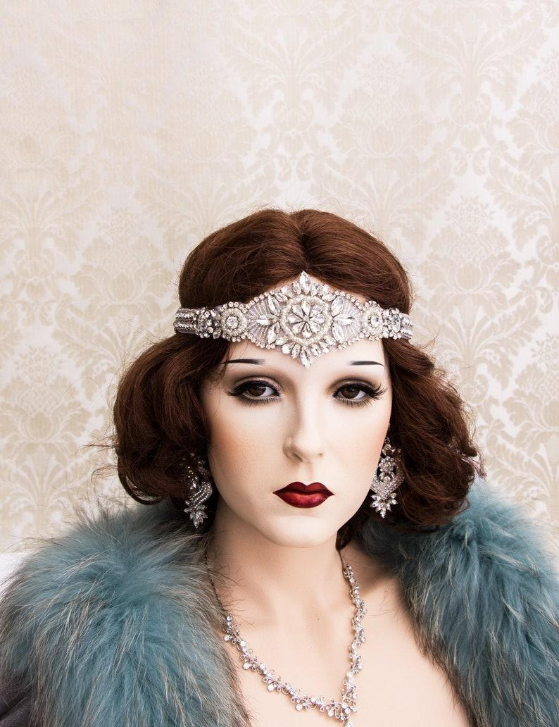 Silver Art Deco Headband Gatsby Headband Art Deco Hair image 0