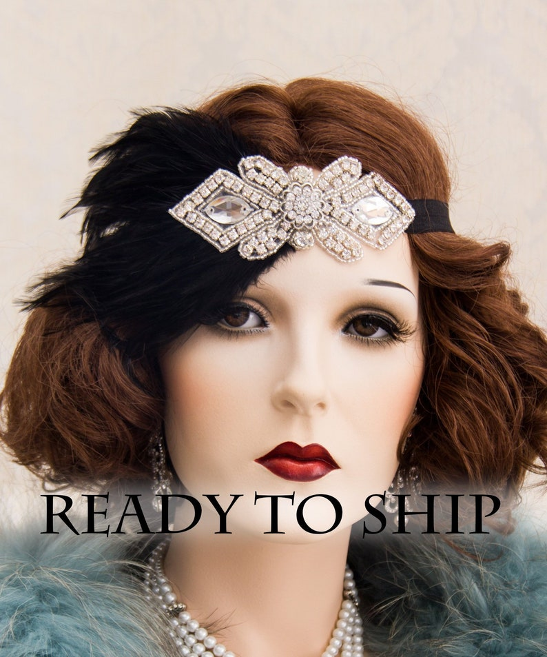 1920s Flapper Headbands Feather Headpiece Great Gatsby ELASTIC