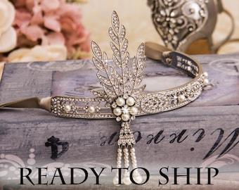 Flapper Headband Great Gatsby Headband Art Deco Headpiece Roaring 1920's Jewelry Gatsby Earrings