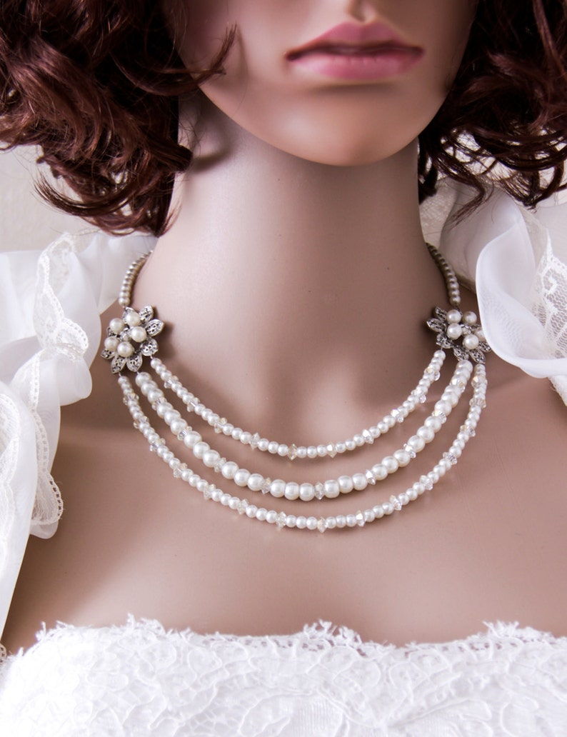 Pearl Wedding Necklace Bridal Jewelry Swarovski Pearl Necklace image 0