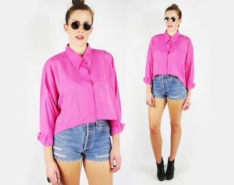 Hi-Low Fish Tail Fishtail Hem Shirt Blouse Stud Collar Shirt Stud Shirt Hot Pink Shirt Oversize Shirt Crop Top 80s 90s Grunge Blogger S M L