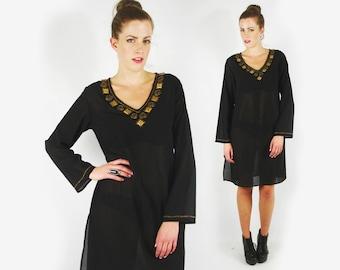 India Dress India Tunic Dress India Kurti Dress Bead Dress Sheer Dress Black Dress Mini Dress Hippie Dress Boho Dress Festival Dress S M