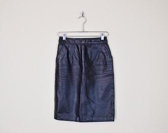Vintage 80s Black Leather Skirt High Waist Skirt Pencil Skirt Wiggle Skirt Body Con Skirt Bodycon Skirt Motorcycle Skirt Biker Skirt S Small