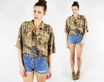 Hi-Low Fish Tail Fishtail Hem Tribal Shirt Top Tribal Print Shirt Ethnic Abstract Print Blouse 100% Silk Shirt Oversize 80s 90s S M L Xl