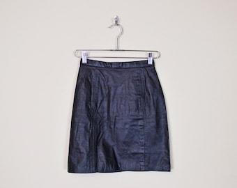 Vintage 80s Black Leather Skirt Mini Skirt High Waist Skirt Pencil Skirt Wiggle Body Con Skirt Bodycon Skirt Motorcycle Skirt Biker Skirt XS