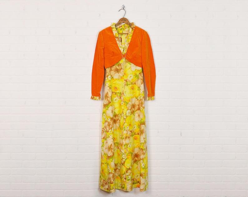 ff870cef795 Vintage 70s Hippie Dress Floral Dress Floral Print Dress Maxi