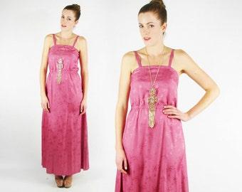 Brocade Dress Floral Dress Floral Print Dress Pink Dress Empire Waist Maxi Dress Asian Dress Chinese Dress 70s Dress Hippie Dress S Small