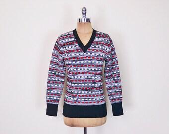 Vintage 70s Black & Red Geometric Space Dye Sweater Jumper V-Neck Sweater 70s Sweater Hippie Sweater Retro Sweater Women XXS XS Extra Small