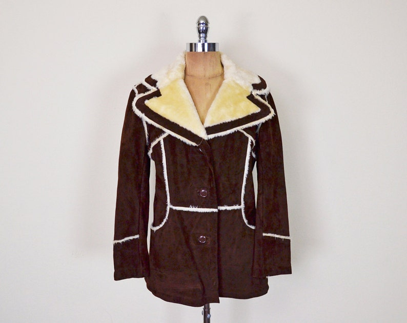 Vintage 70s Brown Leather Coat Jacket Suede Coat Faux image 0