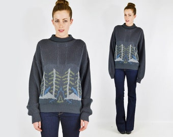 Bear Forest Scene Novelty Print Sweater Jumper Nordic Sweater Cable Knit Sweater Mock Turtleneck Sweater Oversize Sweater Grey 80s S M L Xl