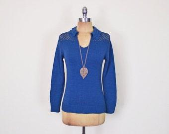 Vintage 70s Blue Sweater Jumper Crochet Sweater Open Knit Sweater Collar Sweater 70s Sweater 70s Hippie Sweater 70s Boho Sweater Women XS S