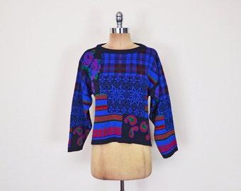 Vintage 80s Blue Fair Isle Sweater Jumper Fairisle Sweater Snowflake Sweater Plaid Sweater Paisley Sweater Crop Sweater Oversize Sweater S