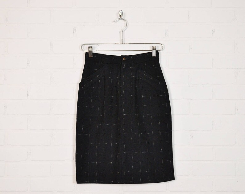 Vintage 80s Black Pencil Skirt High Waist Skirt Wiggle Skirt image 0