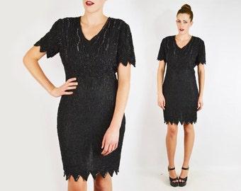 Black Bead Dress Black Sequin Dress Art Deco Bead Mini Dress Silk Dress Trophy Dress Zig-Zag Scallop Cocktail Party Dress 80s Dress S Small