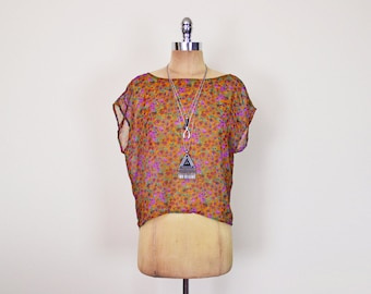 Vintage 80s 90s Brown Floral Blouse Floral Shirt Floral Print Blouse Sheer Blouse Sheer Top Oversize Top Slouchy Top 90s Grunge Top S Small