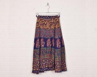 Vintage 70s India Skirt India Wrap Skirt 70s Midi Skirt 70s Hippie Skirt Boho Skirt 70s Skirt Blue Paisley Elephant Print S Small M Medium