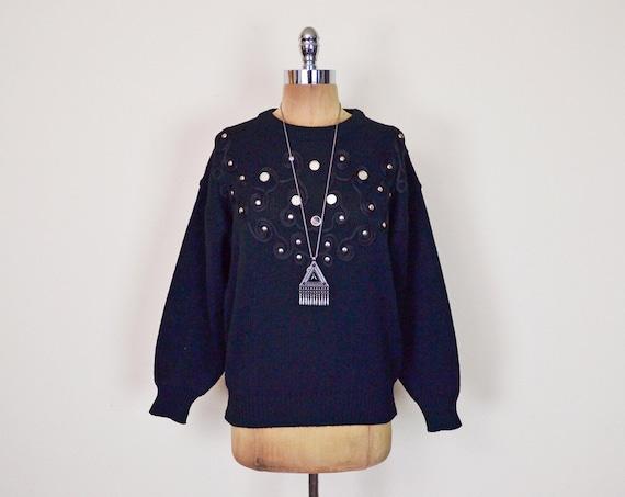 Vintage 80s 90s Black Embroider Sweater Jumper Top