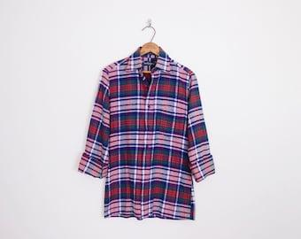 Vintage 80s 90s Blue Green & Red Plaid Shirt Plaid Flannel Shirt Oversize Shirt 90s Shirt 90s Grunge Shirt Women S Small M Medium L Large
