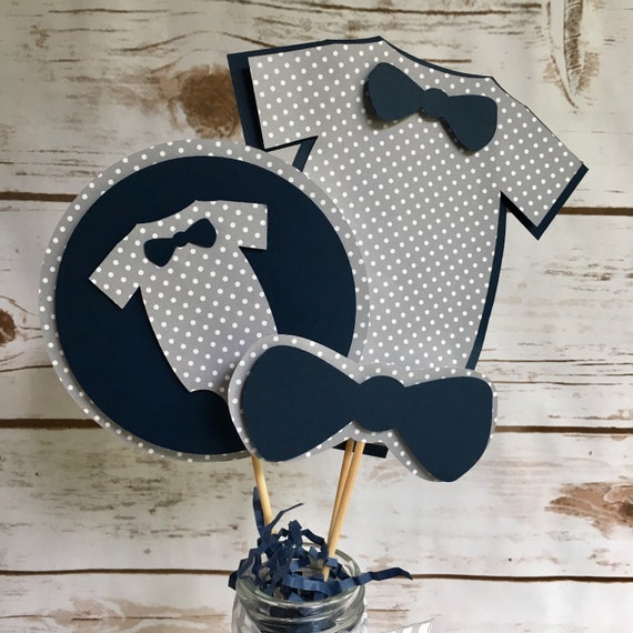 Little Man Centerpieces Navy Blue and Gray- First Birthday - Photo Prop (Baby Shower Decorations)