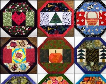 PDF: 9 Designs, Last Minute Centerpiece (Place Mat) Pattern, NO Binding! Foundation Paper Pieced, PDF Digital, Quilt Mini Table Home