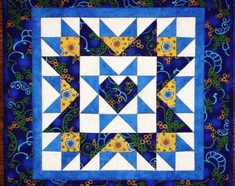 PDF: 4 Designs, Joyful Heart Quiltlet, Fat Quarter Friendly, Paper Pieced Quilt Pattern, Mini Wall Hanging, Table Topper