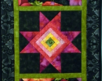 PDF: Log Cabin Star Table Runner, Paper Pieced Quilt Pattern, Thanksgiving, Christmas, Holidays, Themed, Novelty Fabrics, Large Prints